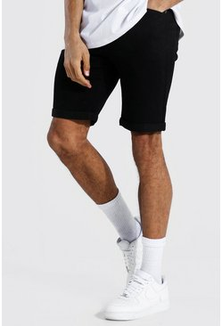 Black Tall Skinny Fit Denim Shorts