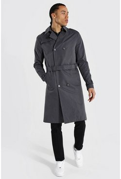 Tall - Imperméable croisé mi long, Grey