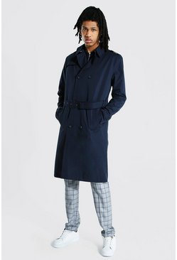 Tall - Imperméable croisé mi long, Navy