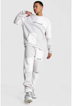 Stone Tall Man Colour Block Sweater Tracksuit