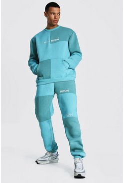 Dusty blue Tall Man Colour Block Sweater Tracksuit