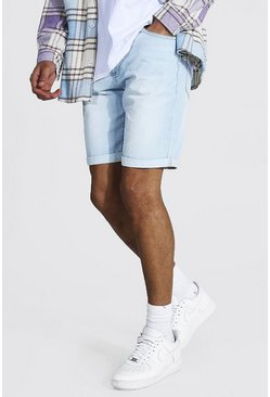 Light blue Tall Slim Rigid Denim Short With Turn Up
