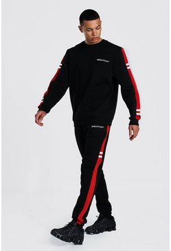 Black Tall Man Colour Block Sweater Tracksuit