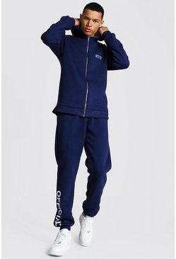Dark blue Tall Official Colour Block Zip Tracksuit