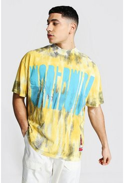 Yellow  Oversized Tie Dye Worldwide T-shirt