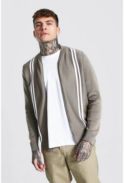 Taupe Striped Knitted Bomber Jacket