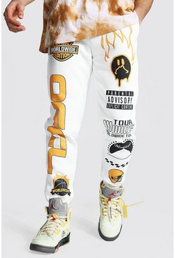 Ecru Loose Official Graphic Varsity Joggers