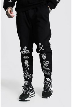 Black Loose Graphic Graffiti Print Joggers