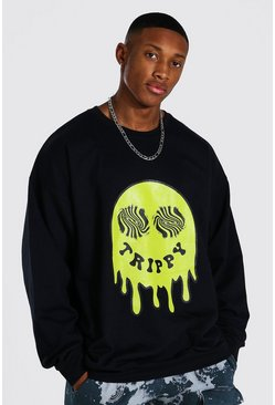 Black Oversized Trippy Drip Face Sweatshirt