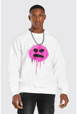 White Oversized Graffiti Drip Face Sweatshirt