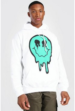 White Oversized Spray Drip Face Hoodie
