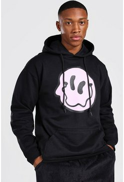 Black Oversized Wavy Face Hoodie