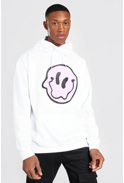 White Oversized Wavy Face Hoodie