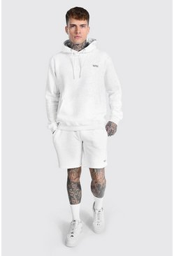 Regular Original Man Hooded Short Tracksuit, Ash grey