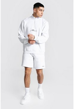 Man Signature Funnel Neck Short Tracksuit, Ash grey