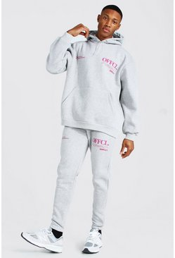 Grey marl Oversized Official Worldwide Hooded Tracksuit