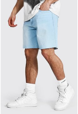 Light blue Loose Fit Denim Shorts With Raw Hem