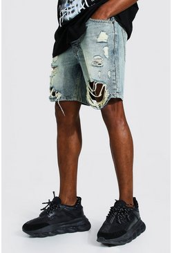 Antique blue Loose Fit Distressed Denim Short