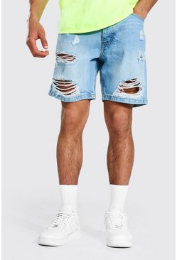 Light blue Loose Fit Distressed Denim Short