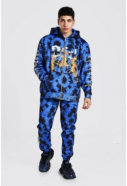 Blue Official Man Flame Tie Dye Zip Hood Tracksuit