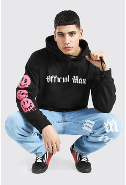 Black Oversized Official Man Drip Face Sleeve Hoodi