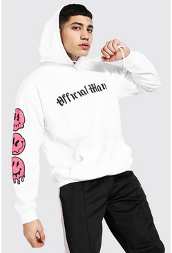 White Oversized Official Man Drip Face Sleeve Hoodi