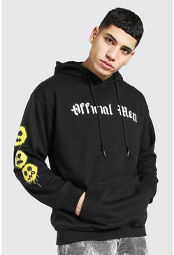 Black Oversized Official Man Spray Face Sleeve Hood