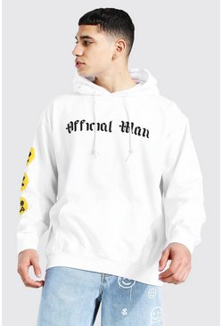 White Oversized Official Man Spray Face Sleeve Hood