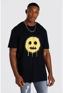 Black Oversized Spray Drip Face T-shirt