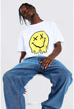 White Oversized Trippy Drip Face T-shirt
