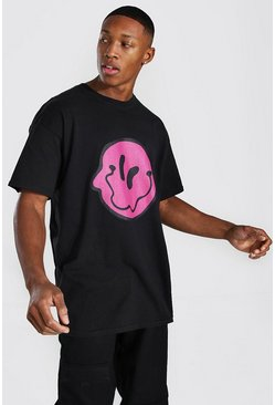 Black Oversized Wavy Drip Face T-shirt