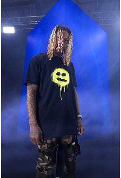T-shirt oversize smiley, Black