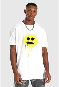 White Oversized Spray Drip Face T-shirt