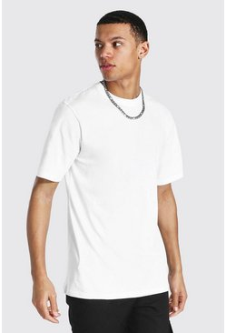 White Tall Basic Short Sleeve Crew Neck T-shirt