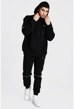 Black Oversized Man Embroidered Hooded Tracksuit
