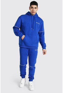Cobalt Oversized Man Embroidered Hooded Tracksuit
