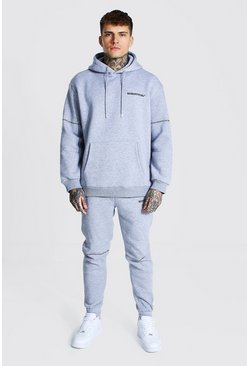 Grey marl Oversized Man Embroidered Hooded Tracksuit