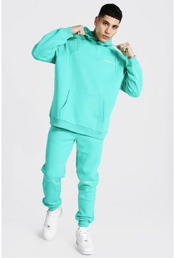 Green Oversized Man Embroidered Hooded Tracksuit