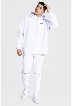 White Oversized Man Embroidered Hooded Tracksuit