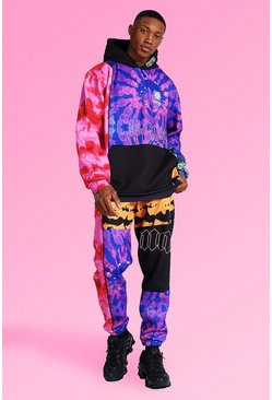 Multi Oversized Man Tie Dye Panel Hooded Tracksuit