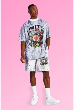 Oversized Floral Tie Dye T-shirt & Short Set, Grey