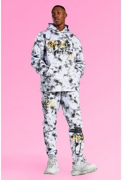 Grey Oversized Palm Tree Tie Dye Hooded Tracksuit
