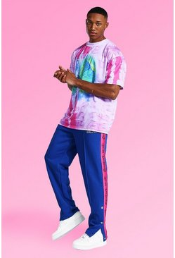 Pink Oversized Tie Dye Tee With Popper Joggers