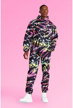 Multi Oversized All Over Man Tie Dye Hood Tracksuit