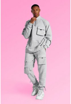 Grey marl Oversized Quilted Cargo Funnel Neck Tracksuit