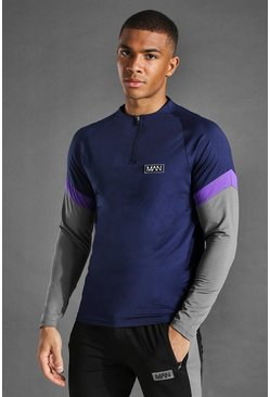 Navy Man Active Crew Neck Colour Block Zip Top