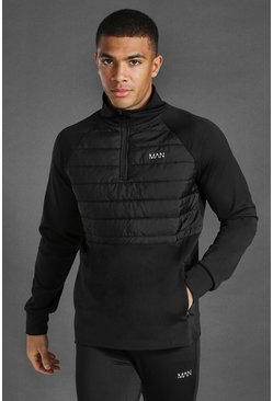 Black Man Active Quilted 1/4 Zip Top