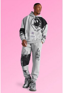 Grey marl Oversized Graffiti Patchwork Hooded Tracksuit