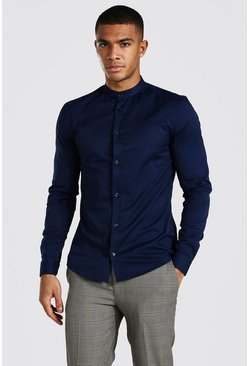 Navy Muscle Fit Grandad Collar Long Sleeve Shirt
