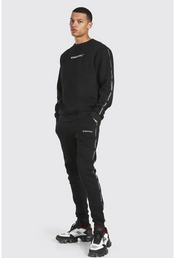 Black Tall Official Man Tape Sweater Tracksuit